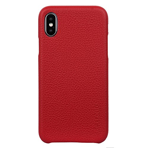 iPhone Xs/X Case, Premium Top Grain Italian Cow Leather with New Slim Design Hard Case Cover Fit for Apple iPhone Xs/X (RED) - BELFORD