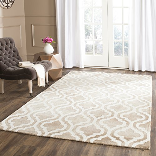 Safavieh Dip Dye Collection DDY537G Handmade Geometric Moroccan Watercolor Beige and Ivory Wool Area Rug (6