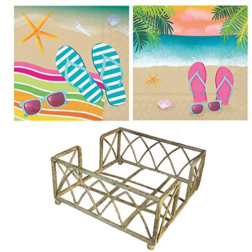 Antique White Cocktail Napkin Holder WITH 40 Flip Flops Tropical Sandy Beach Ocean Waves Palm Trees Theme -