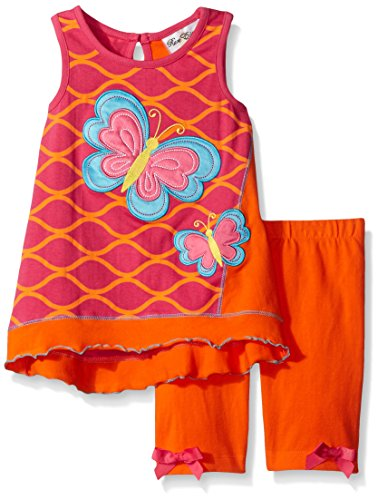 Rare Editions Little Girls' Butterfly Short Set, Fuchsia/Orange, 6 (Butterfly Short Set)