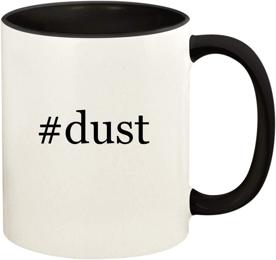 #dust - 11oz Hashtag Ceramic Colored Handle and Inside Coffee Mug Cup, Black