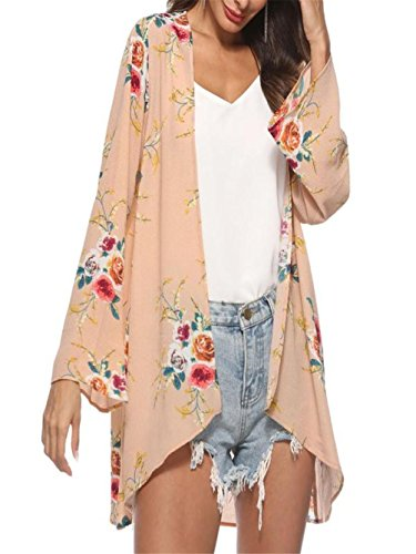 - ANJUNIE tops Women Blouse, Floral Cover Casual Tops Loose Kimono Cardigan Capes(Khaki,M)