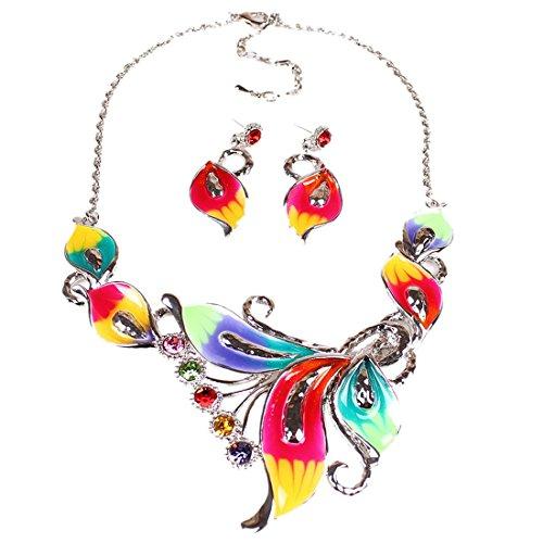 Women's Exotic Multi-Colored Enamel Flower Bib Choker Necklace Earring Set by QIYUN.Z