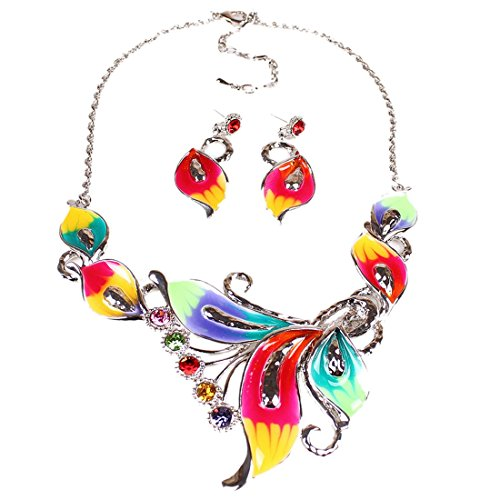 Women's Exotic Multi-Colored Enamel Flower Bib Choker Necklace Earring Set (Set Flower Choker Necklace)