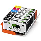 JARBO 5 Color Compatible Ink Cartridge for HP 564 High Yiled, 1 Set+1 Black, Used in HP Photosmart 5520 6520 7520 5510 6510 7510 7525 B8550 C6380 D7560 Premium C309A C410 Officejet 4620 Deskjet 3520
