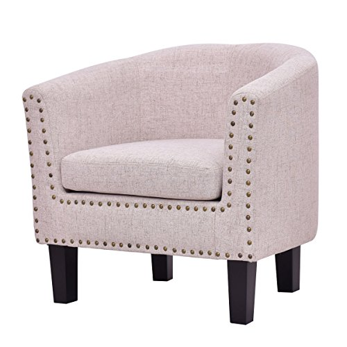 (Beige Tub Barrel Club Seat Armchair Seat Leisure Accent Chair Single Sofa Slipper Chair Nailhead Cushion Seat Couch Seat Home Office Lounge Fabric Armchair Upholstered Chair (U.S. Stock))