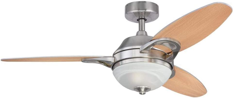 Ciata Lighting 46-Inch Arcadia Indoor Ceiling Fan in Brushed Nickel Finish with Dimmable LED Light Fixture with Reversible Beech/Weathered Maple Blades and Remote Control
