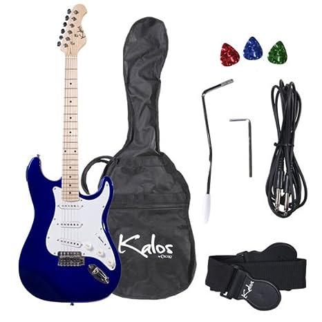 Kalos 1EG 39-inch guitarra eléctrica (con funda, 3 púas, correa, cable de amplificador, trémolo y brazo - tamaño completo: Amazon.es: Instrumentos musicales