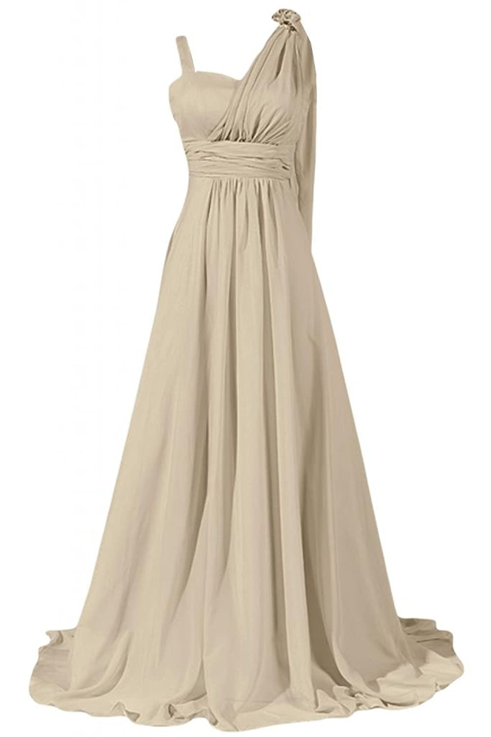 Sunvary Elegent A-Line Asymmetrical Straps Sweep Evening Dress Formal Gown