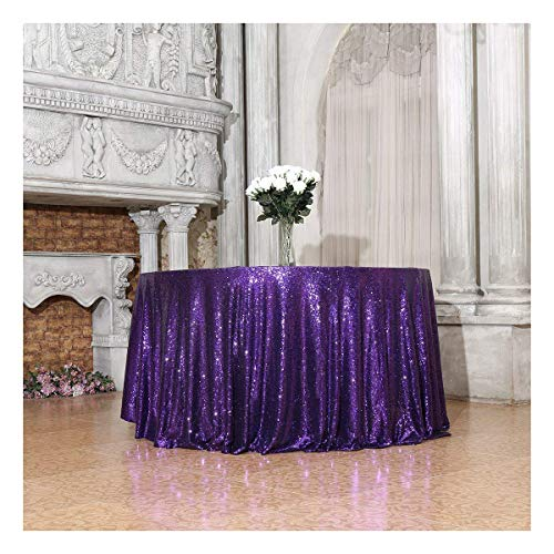 3e Home 70-Inch Round Sequin TableCloth for Party Cake Dessert Table Exhibition Events, Purple