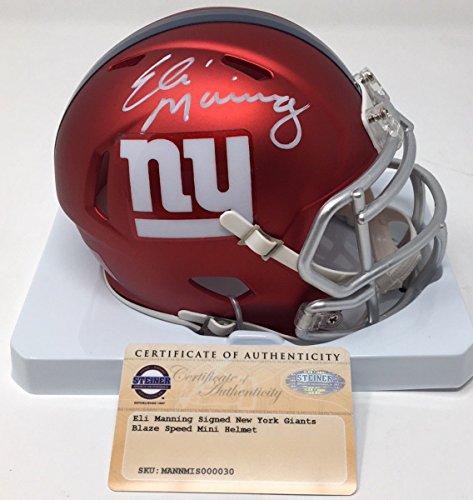 (ELI MANNING Autographed New York Giants Mini Blaze Helmet STEINER)