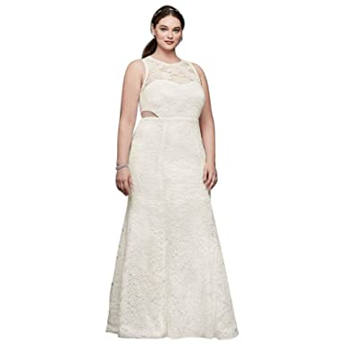 c47e3501fe3 Illusion Corded Lace Trumpet Plus Size Dress Style DB19799W at Amazon  Women s Clothing store