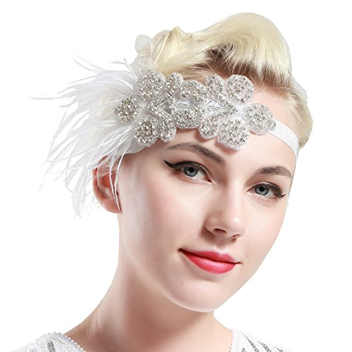 BABEYOND 1920s Flapper Headpiece for Great Gatsby Themed Wedding Roaring 20s Bridal Feather Headband 1920s Flapper Gatsby Hair Accessories (White-2) by BABEYOND