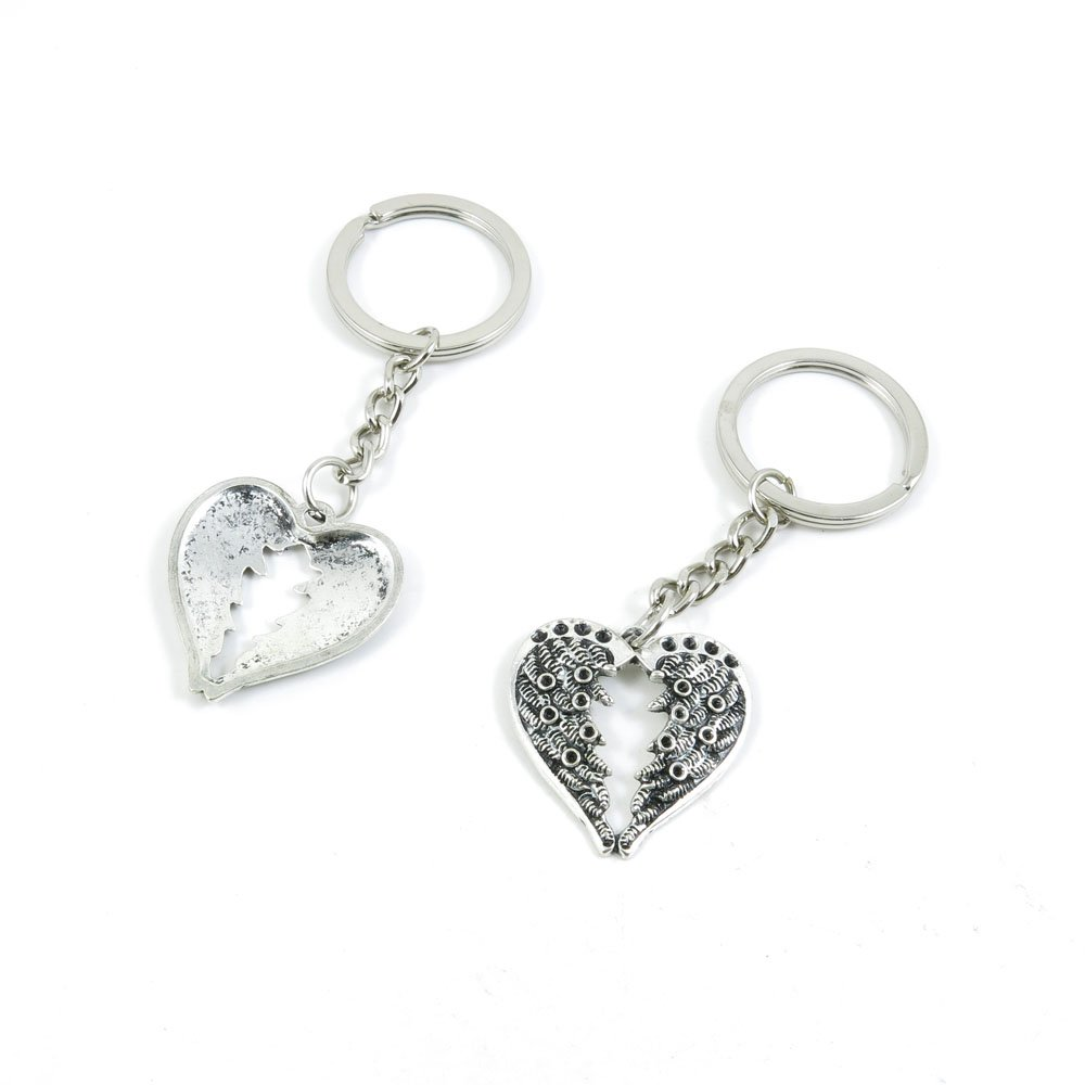 100 Pieces Keychain Door Car Key Chain Tags Keyring Ring Chain Keychain Supplies Antique Silver Tone Wholesale Bulk Lots W5VL9 Wings of Love Heart