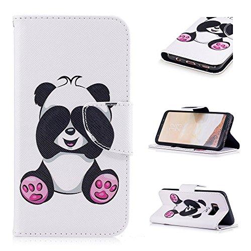 Hülle für Samsung Galaxy S8, Hancda Lederhülle Tasche Etui Flip Cover Hülle mit Kartenfach Standfunktion Muster Bunt Stoßfest Leder Handytasche Case Rundumschutz Magnet Wallet Schutzhülle für Samsung  Ein Panda