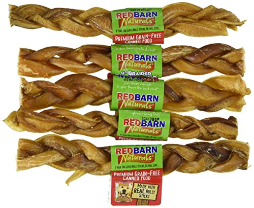 (5 Pack) Redbarn Premium Braided Bully Sticks 9 Inch