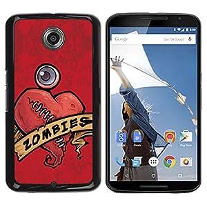 Caucho caso de Shell duro de la cubierta de accesorios de protección BY RAYDREAMMM - Motorola NEXUS 6 / X / Moto X Pro - Zombie Heart Stiches Red Drawing Art Sign