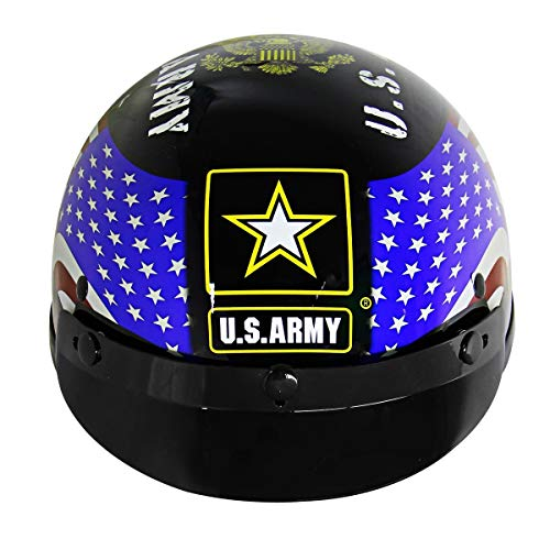Outlaw T70 'Army' Officially Licensed Motorcycle Half Helmet - 2X-Large - Outlaw Dot Gloss