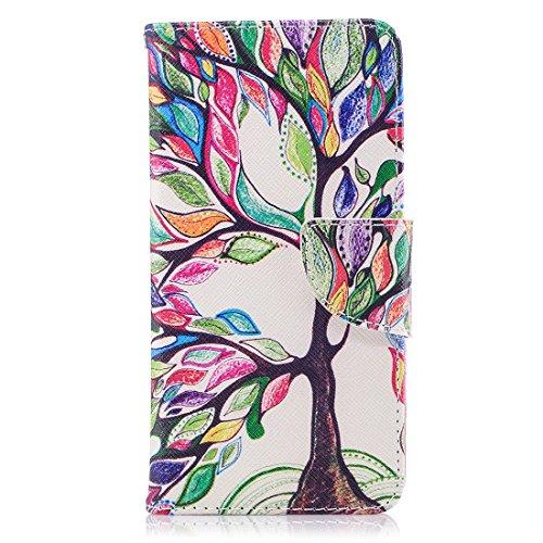 Aérosol Support Conception Colorful Pu Pour Tree Hozor Fente Flip Mini Protection Carte Cuir Cas De Lite Magnétique D'impression Huawei P9 Peint Avec Fermeture Étui En Portefeuille XnggSqv8w1