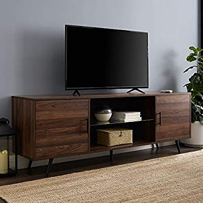 """Walker Edison Furniture Company Mid Century Modern Wood Universal Stand for TV's up to 80"""" Flat Screen Cabinet Doors and Shelves Living Room Storage Entertainment Center, 70 Inch, Dark Walnut - Dimensions: 24"""" H x 70"""" L x 16"""" W Cable management features to run cords in the back of the TV stand Made from high-grade certified MDF for long-lasting construction - tv-stands, living-room-furniture, living-room - 51dtazGt9%2BL. SS400  -"""