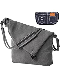 kilofly Large Casual Canvas Crossbody Shoulder Bag + Handy Pouch Value Combo