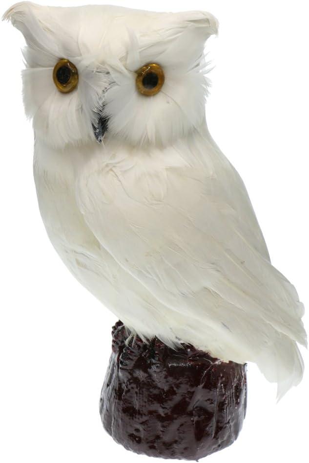 Artificial Owl Bird Feather Realistic Taxidermy Home Garden Decor 2 Colors