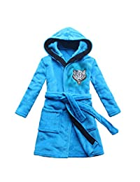 2017 Wolf Embroidery Children's Bathrobe Sky Blue Boy's Nightgown Home Robe