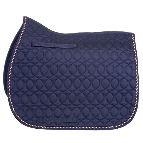 - Hyspeed Deluxe Saddle Pad With Cord Binding - Navy/red White & Blue Cord - Pony