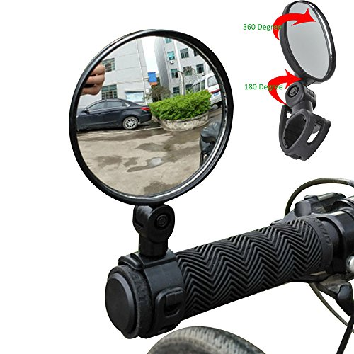 Mumustar 2PCS Mini Bike Mirrors Rear View Adjustable Handlebar Glasses 360 ° Rotation For Mountain Road Bike Bicycle…