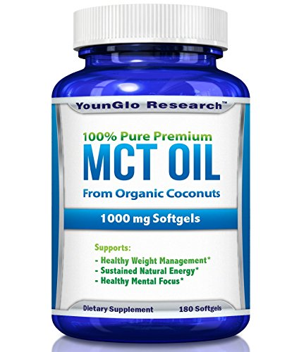 MCT Oil Capsules 100% from Organic Coconuts - 1000 mg 180 Softgels - Great Pills for Energy and Weight Management (1 Pack)