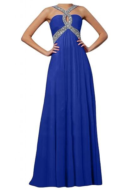 Toskana novia Mujer Mode rueckenfrei Noche de gasa Vestidos Largo novia Ball Prom Fiesta Ropa Azul
