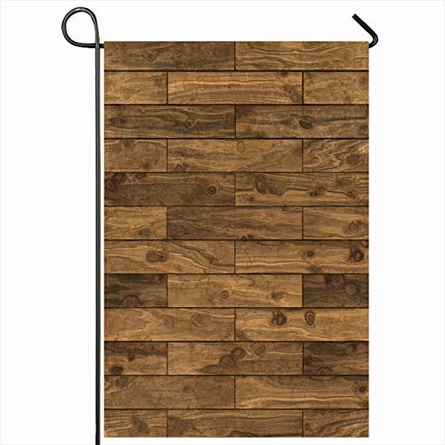 Ahawoso Garden Flag 12x18 Inches Material Hardwood Brown Panel Dark Walnut Laminate Pattern Flooring Abstract Tiled Wood Woodgrain Decorative Seasonal Double Sided Home House Outdoor Yard Sign