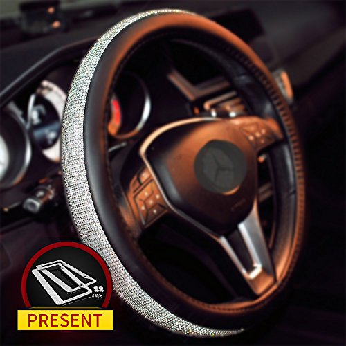 Sino Banyan Girly Diamond Bling Steering Wheel Cover with 2x Bling License,15 Inch Black & Silver
