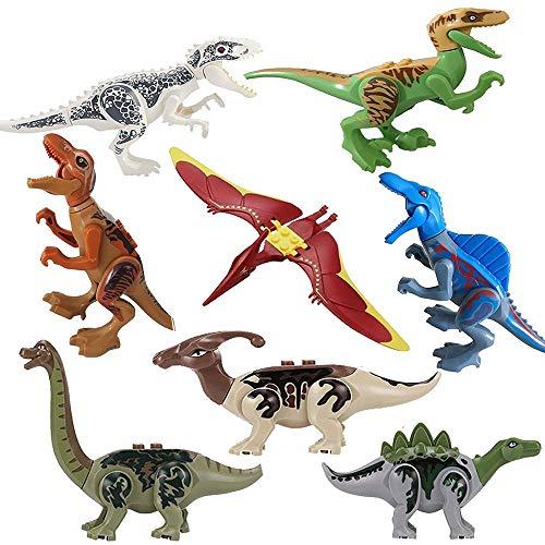 MUMBABYTOYS 8pcs Color Dinosaur DIY Assembly Building Blocks Toys,Dinosaur Figures Bricks Toys for Boys Girls Birthday
