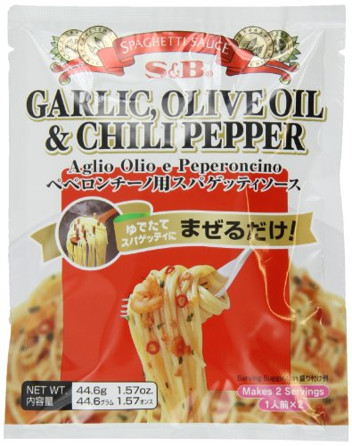 (S&B Garlic, Olive Oil & Chili Pepper Peperoncino Spaghetti Sauce, 1.57-Ounce)