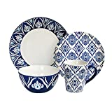Cheap American Atelier Pirouette 16 Piece Dinnerware Set, Blue