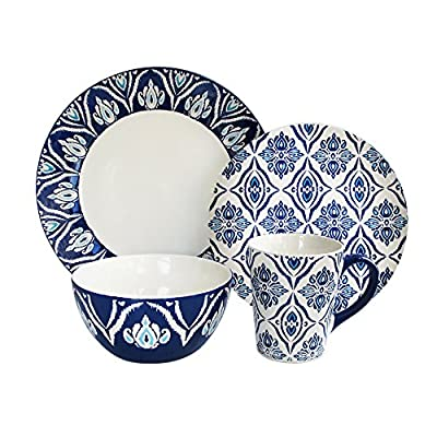 "American Atelier Pirouette 16 Piece Dinnerware Set, Blue - This elegant dinnerware set is made of Thick,  high quality,  lead free stoneware that will withstand frequent daily use and last for years to come.  An easy way to add a unique and chic touch to your dining Table. The 16 piece set is very versatile.  It is wonderful for everyday use,  or for celebrating any occasion like holiday and dinner parties,  special occasions,  or casual entertaining. The ideal compliment to any Table setting,  this set includes a full service for four including 4 dinner plates,  4 Salad plates,  4 bowls,  and 4 mugs.  Dimensions:  dinner plate:  10. 5"",  Salad plate:  8. 5"",  bowl:  6"",  mug:  13 ounce capacity. - kitchen-tabletop, kitchen-dining-room, dinnerware-sets - 51dtcpVprgL. SS400  -"