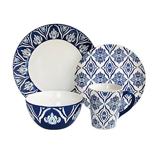 American Atelier Pirouette 16 Piece Dinnerware Set, Blue