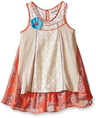 Rare Editions Little Girls Paisley Print Dress with Lace Panels, Oatmeal/Multi, 5