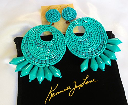 Kenneth Jay Lane Jewelry Turquoise Blue Large Gypsy Disc Beaded Clip Earring