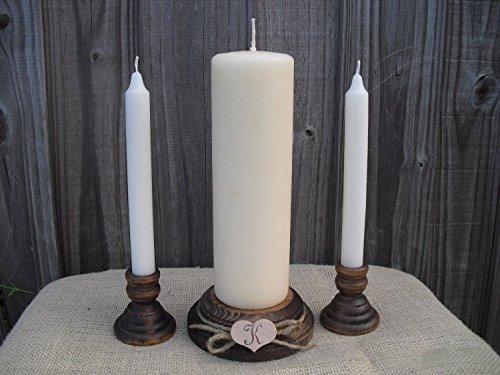 - Wood Unity Candle Holder Set - Rustic with Monogram - Item 1008