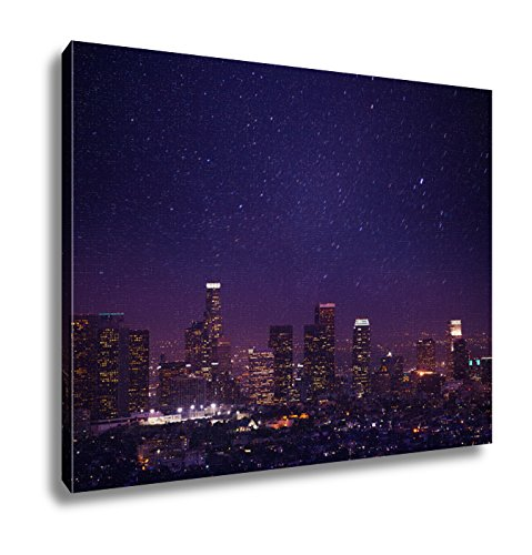 Ashley Canvas, Beautiful Night Cityscape View Of Los Angeles Us, - Lights Art Night Enlightened