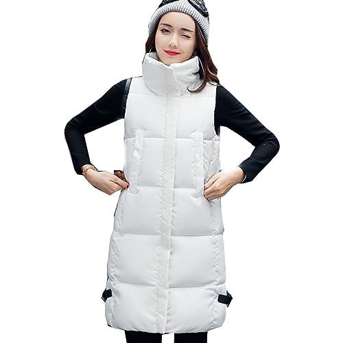 WTUS Abrigo con capucha de invierno para mujer,BLANCO