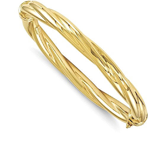 ICE CARATS 14k Yellow Gold Twisted Hinged Bangle Bracelet Cuff Expandable Stackable Fine Jewelry Gift Set For Women Heart by ICE CARATS