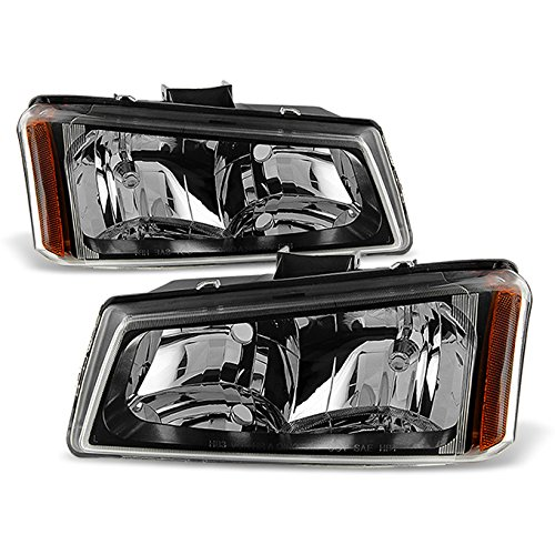 For Black Bezel 2003-2006 Chevy Silverado 1500HD / 2500 Avalanche Headlights Front Lamps Replacement Pair Left + Right