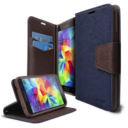 [FREE HD Film] Ringke DELIGHT® Galaxy S5 Funda Flip Cover **NEW RELEASE** FREE Premium HD Clear Protector Pantalla Included [NAVY]Best Selling Premium PU Saffiano Leather