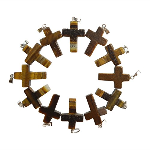Eye Stone Cross (Mz Unisex-adult's 12pcs Beautiful Tiger Eye Gem Cross Pendant)