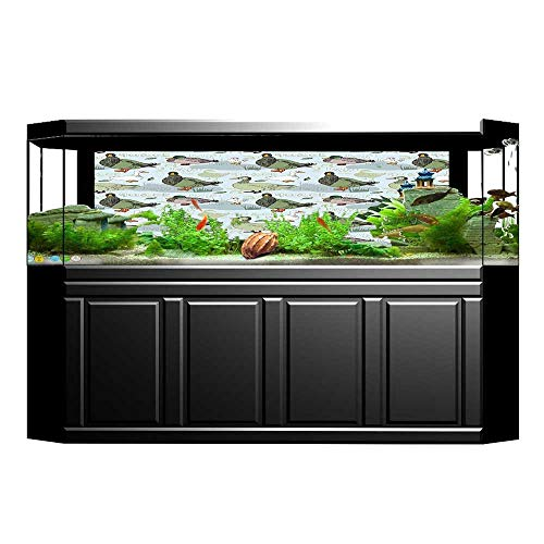 UHOO2018 3D Aquarium Background Collection Ducks Fowl on The Farm with Greenery Leaves Etching Illustration Design Print Fish Tank Wall Decorations Sticker 23.6