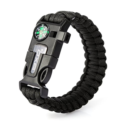 OXA Survival Paracord Bracelet, Emergency Outdoor Paracord Survival Bracelet with Multi Tool Embedded Compass, Fire Starter, Emergency Knife, Whistle, Rescue Rope for Hiking Traveling