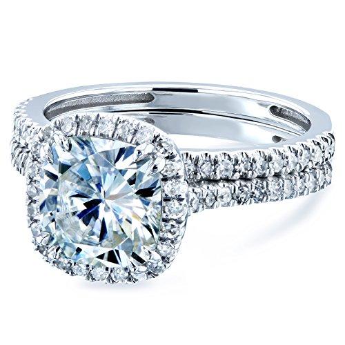 Cushion Brilliant Moissanite and Diamond Halo Bridal Wedding Rings Set 2 3/8 CTW 14k White Gold (FG/VS, GH/I), 5.5 by Kobelli (Image #1)